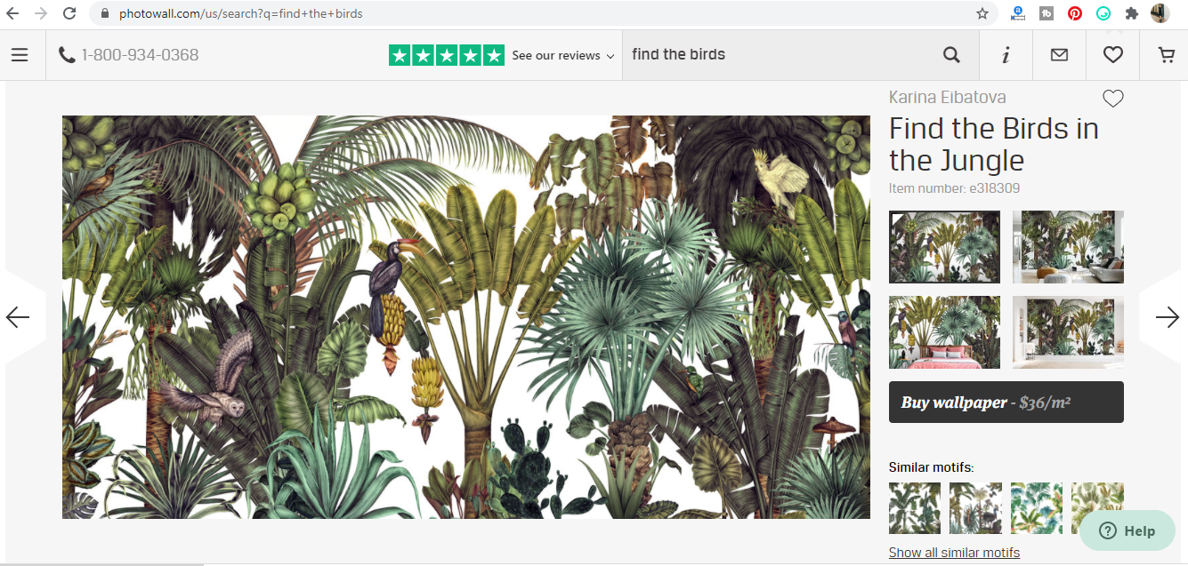 BAHASA Find The Birds In The Jungle Mural Background From PHOTOWALL SWEDEN 2